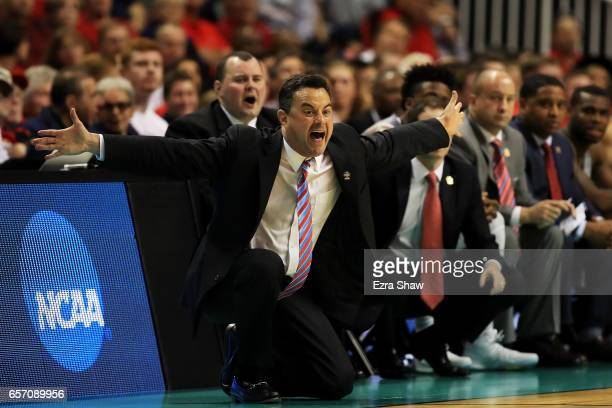 Head coach Sean Miller of the Arizona Wildcats reacts in the first half against the Xavier Musketeers during the 2017 NCAA Men's Basketball...