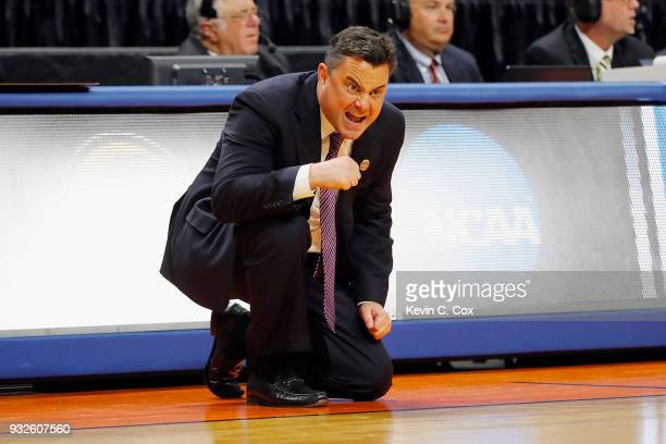 Head coach Sean Miller of the Arizona Wildcats reacts in the first half against the Buffalo Bulls during the first round of the 2018 NCAA Men's...