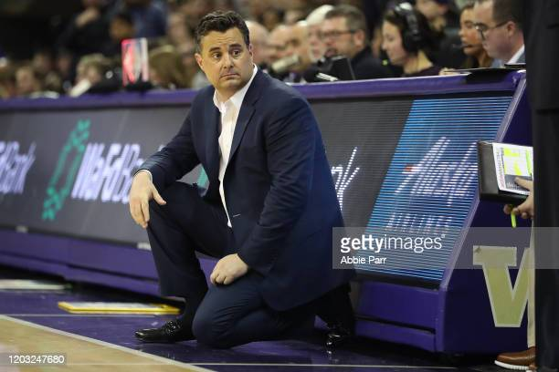 Head Coach Sean Miller of the Arizona Wildcats reacts in the second half against the Washington Huskies during their game at Hec Edmundson Pavilion...