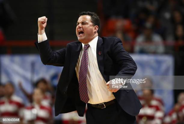 Head coach Sean Miller of the Arizona Wildcats reacts in the second half against the Buffalo Bulls during the first round of the 2018 NCAA Men's...