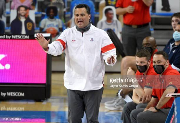 Head coach Sean Miller of the Arizona Wildcats reacts on the sidelines during the game against the UCLA Bruins at Pauley Pavilion on February 18,...