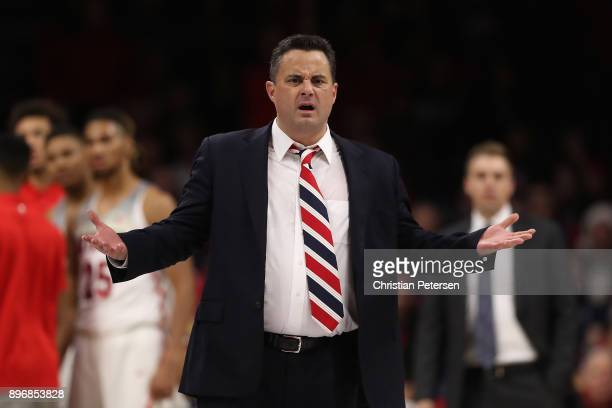Head coach Sean Miller of the Arizona Wildcats reacts to a foul call during the first half of the college basketball game against the Connecticut...