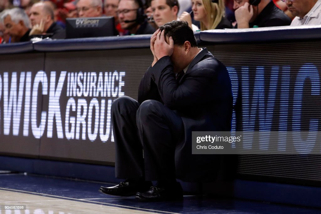Head coach Sean Miller of the Arizona Wildcats reacts to a foul call during the second half of the college basketball game against the Oregon Ducks at McKale Center on January 13, 2018 in Tucson, Arizona. The Wildcats beat the Ducks 90-83.