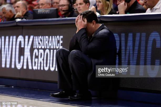 Head coach Sean Miller of the Arizona Wildcats reacts to a foul call during the second half of the college basketball game against the Oregon Ducks...