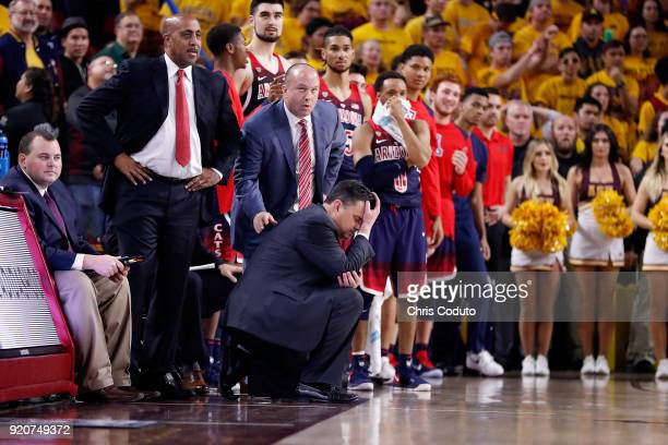 Head coach Sean Miller of the Arizona Wildcats reacts to a foul call during the second half of the college basketball game against the Arizona State...