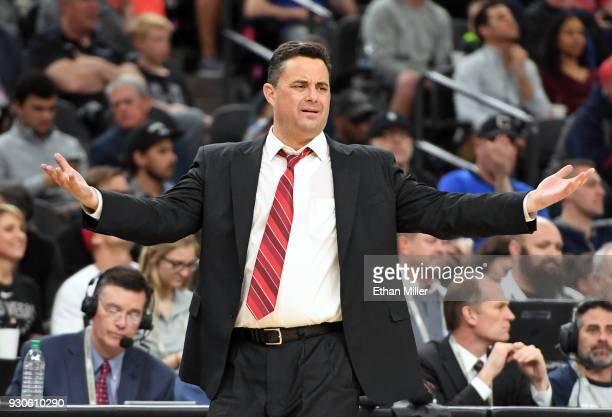 Head coach Sean Miller of the Arizona Wildcats reacts to an official's call during the championship game of the Pac12 basketball tournament against...