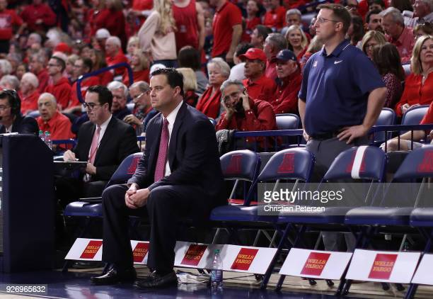 Head coach Sean Miller of the Arizona Wildcats sits on the bench during the second half of the college basketball game against the California Golden...