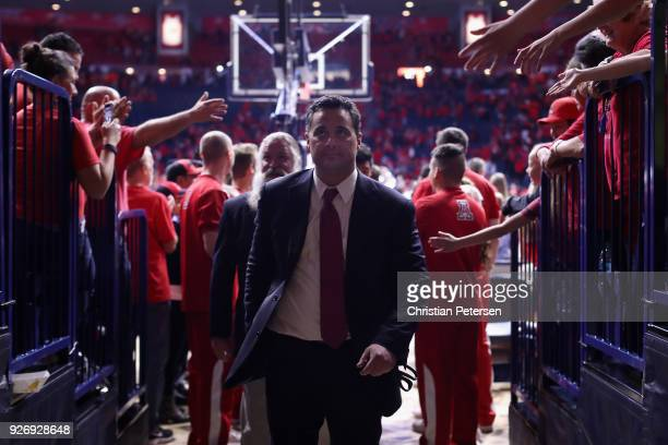 Head coach Sean Miller of the Arizona Wildcats walks off the court following the college basketball game against the California Golden Bears at...