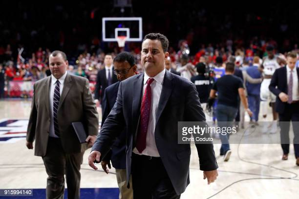Head coach Sean Miller of the Arizona Wildcats walks off the floor after the UCLA Bruins defeated the Wildcats 8274 during the college basketball...
