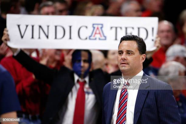 Head coach Sean Miller of the Arizona Wildcats walks onto the floor before the start of the college basketball game against the Stanford Cardinal at...