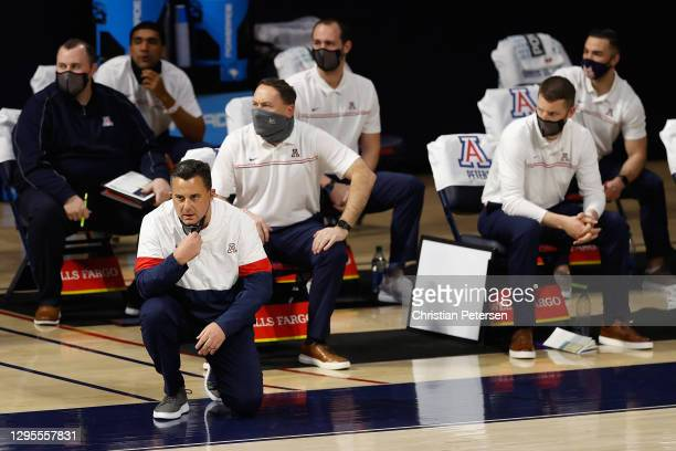 Head coach Sean Miller of the Arizona Wildcats watches from the bench during the first half of the NCAAB game against the UCLA Bruins at McKale...