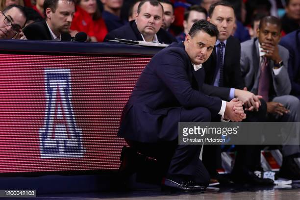 Head coach Sean Miller of the Arizona Wildcats watches from the sidelines during the second half of the NCAAB game against the Utah Utes at McKale...