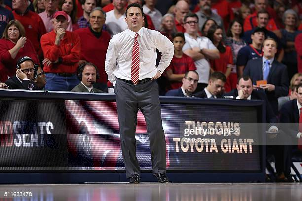 Head coach Sean Miller of the Arizona Wildcats watches the action during the second half of the college basketball game against the USC Trojans at...
