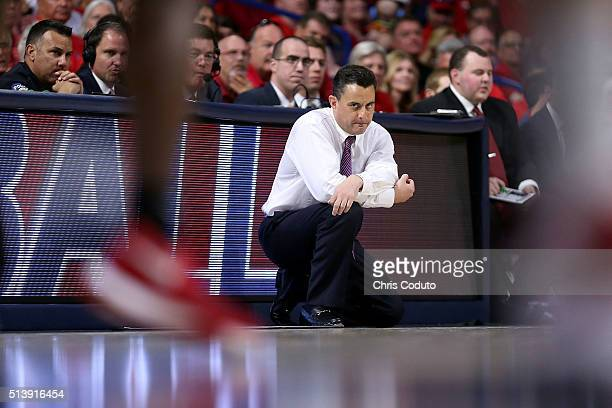 Head coach Sean Miller of the Arizona Wildcats watches the action during the first half of the college basketball game against the Stanford Cardinal...
