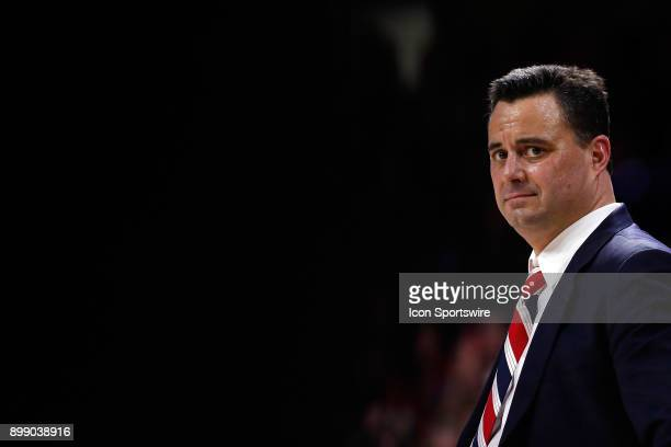 Head coach Sean Miller of the Arizona Wildcats watches the action during the first half of the college basketball game against the Connecticut...