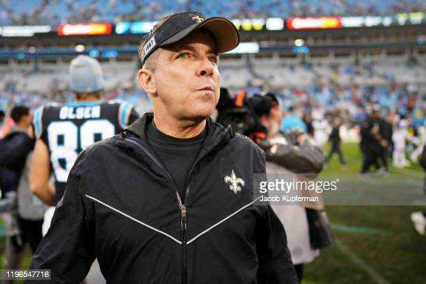 Head coach Sean Payton of the New Orleans Saints after their game against the Carolina Panthers at Bank of America Stadium on December 29 2019 in...