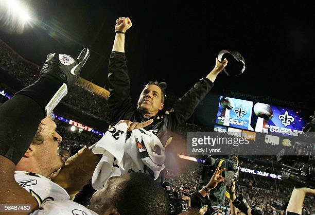 Head coach Sean Payton of the New Orleans Saints celebrates after defeating the Indianapolis Colts during Super Bowl XLIV on February 7 2010 at Sun...