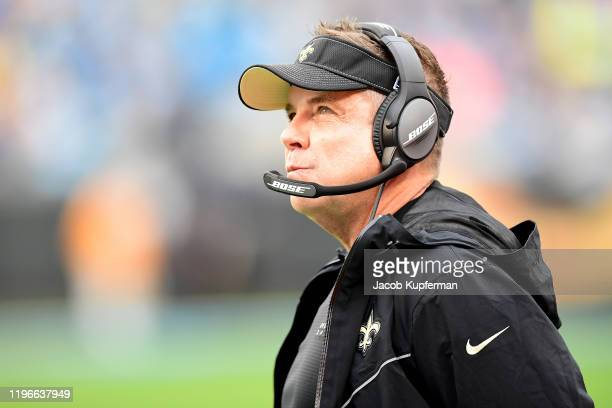 Head coach Sean Payton of the New Orleans Saints during the first half during their game against the Carolina Panthers at Bank of America Stadium on...
