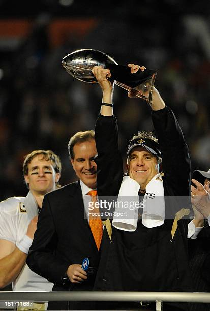 Head Coach Sean Payton of the New Orleans Saints hoists the Lombardi Trophy after defeating Indianapolis Colts in Super Bowl XLIV on February 7 2010...