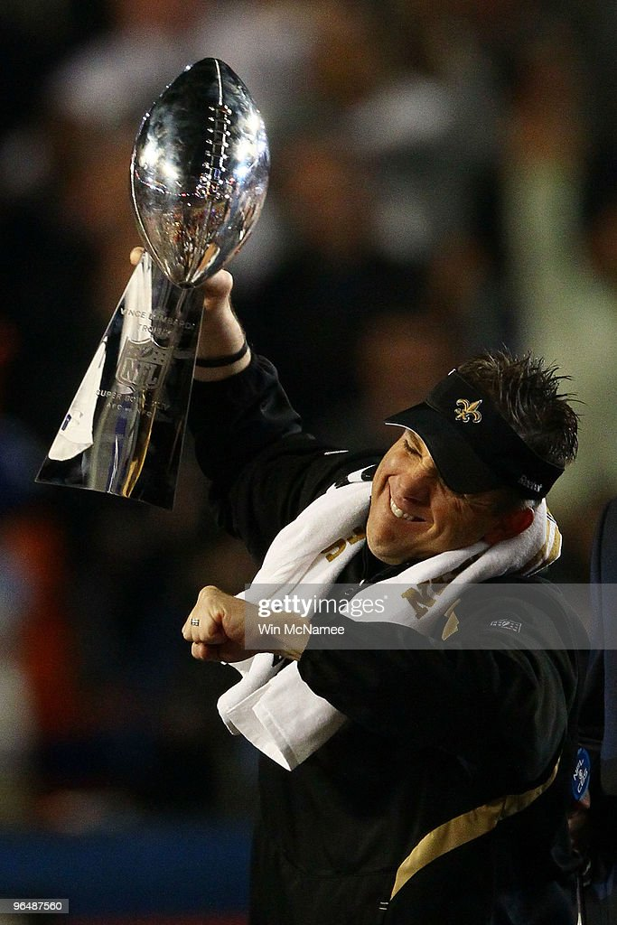 Head coach Sean Payton of the New Orleans Saints holds up the Vince Lombardi Trophy after defeating the Indianapolis Colts during Super Bowl XLIV on February 7, 2010 at Sun Life Stadium in Miami Gardens, Florida.