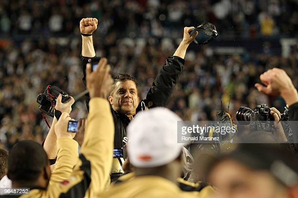 Head coach Sean Payton of the New Orleans Saints reacts after defeating the Indianapolis Colts during Super Bowl XLIV on February 7 2010 at Sun Life...