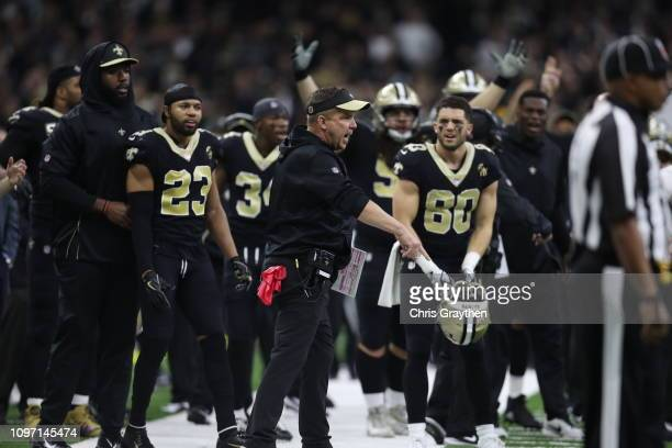 Head coach Sean Payton of the New Orleans Saints reacts against the Los Angeles Rams during the fourth quarter in the NFC Championship game at the...