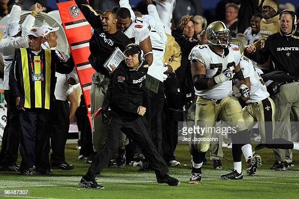 Head coach Sean Payton of the New Orleans Saints reacts late in the fourth quarter against the Indianapolis Colts during Super Bowl XLIV on February...