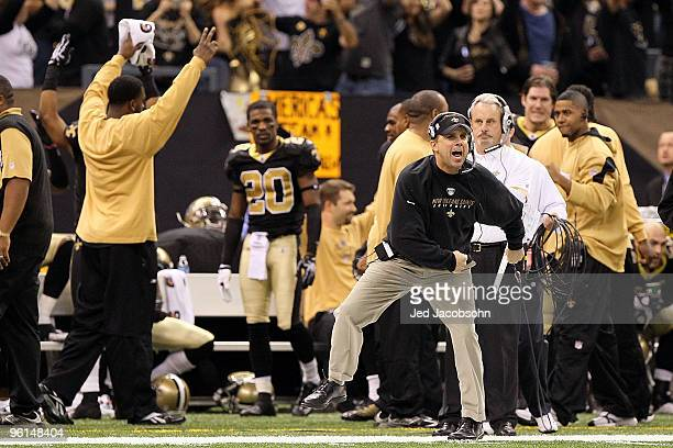 Head coach Sean Payton of the New Orleans Saints reacts to a touchdown in the fourth quarter against the Minnesota Vikings during the NFC...
