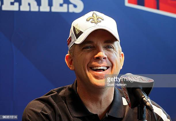 Head coach Sean Payton of the New Orleans Saints speaks to members of the media during Super Bowl XLIV Media Day at Sun Life Stadium on February 2...