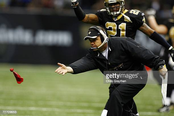 Head coach Sean Payton of the New Orleans Saints tosses a red flag to challenge a call in the second half against San Francisco 49ers December 3 2006...