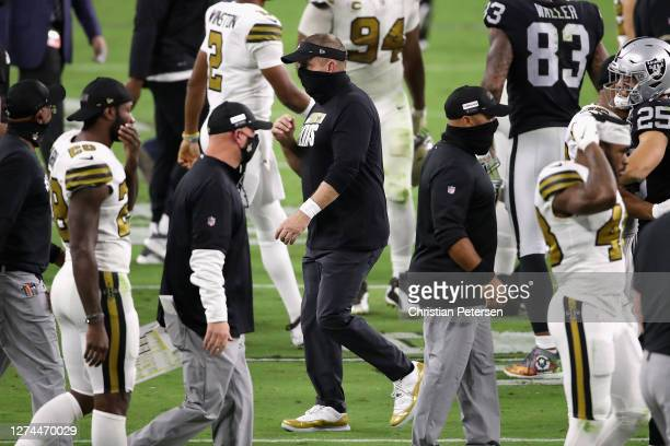 Head coach Sean Payton of the New Orleans Saints walks off the field following the NFL game against the Las Vegas Raiders at Allegiant Stadium on...