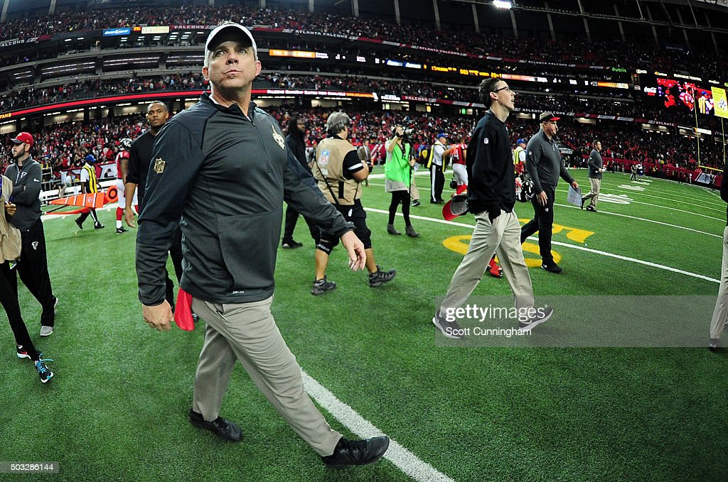 Head coach Sean Payton of the New Orleans Saints walks on the field after beating the Atlanta Falcons at the Georgia Dome on January 3, 2016 in Atlanta, Georgia.