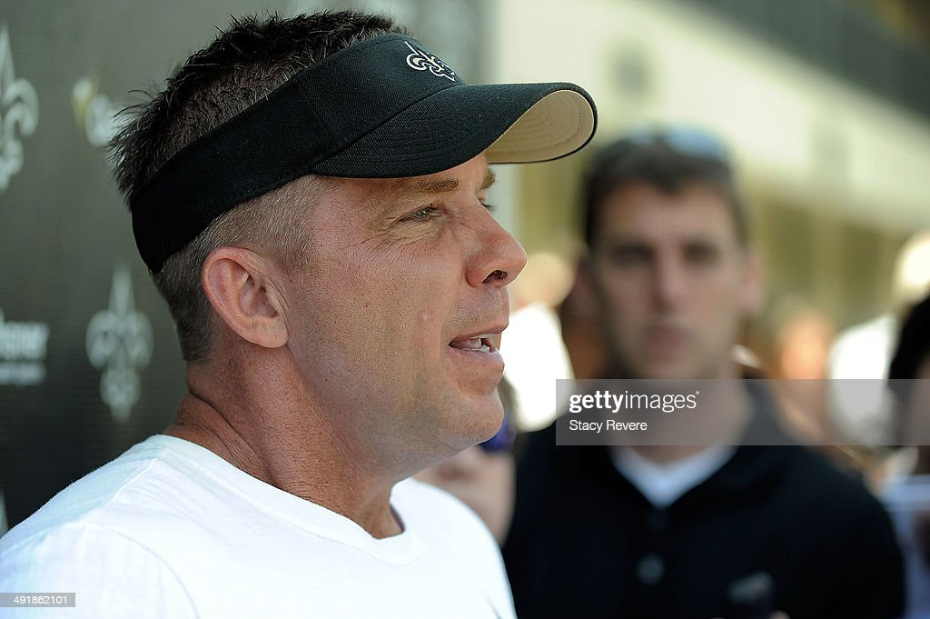 Head coach Sean Payton speaks with the media during the New Orleans Saints rookie minicamp at the Saints training facility on May 17, 2014 in Metairie, Louisiana.