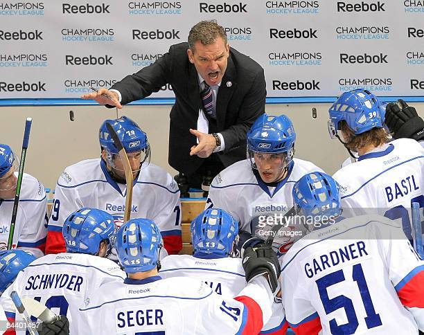 Head Coach Sean Simpson of ZSC Lions Zurich gives instructions during the IIHF Champions Hockey League final game between Metallurg Magnitogorsk and...