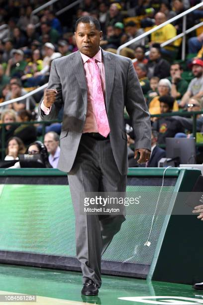 Head coach Sean Woods of the Southern University Jaguars looks on during a college basketball game against the George Mason Patriots at the Eagle...