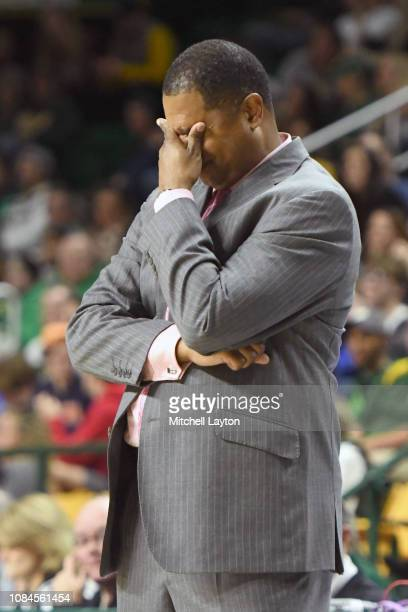 Head coach Sean Woods of the Southern University Jaguars reacts to call during a college basketball game against the George Mason Patriots at the...