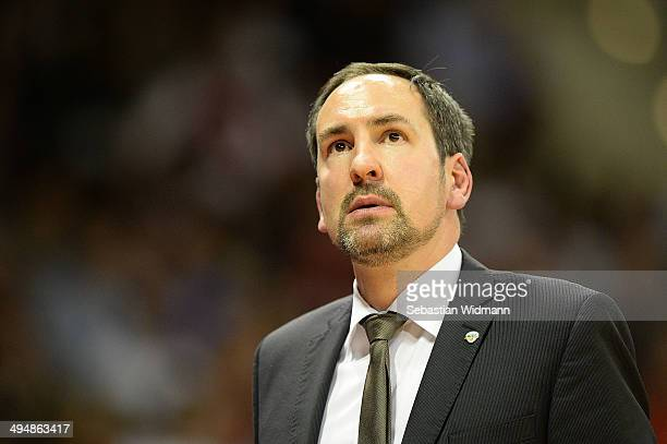 Head coach Sebastian Machowski of Oldenburg reacts to the game during game three of the 2014 Beko BBL Playoffs SemiFinal between FC Bayern Muenchen...