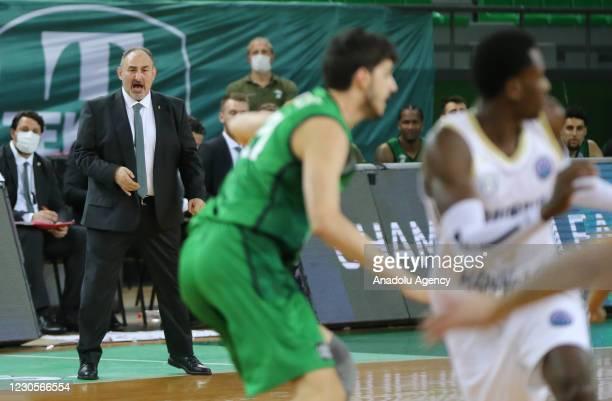 Head coach Selcuk Ernak of Darussafaka Tekfen gestures during FIBA Champions League Group H basketball match between Darussafaka Tekfen and Happy...