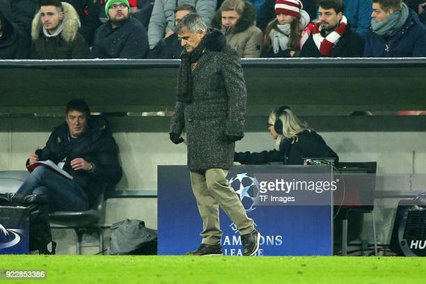 Head Coach Senol Guenes of Besiktas Istanbul looks dejected during the UEFA Champions League Round of 16 First Leg match between Bayern Muenchen and...