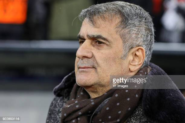 Head Coach Senol Guenes of Besiktas Istanbul looks on during the UEFA Champions League Round of 16 First Leg match between Bayern Muenchen and...