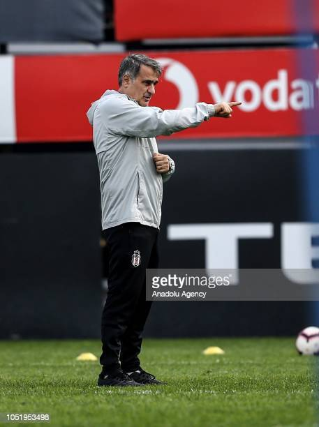 Head coach Senol Gunes of Besiktas leads a training session ahead of the Turkish Super Lig week 9 soccer match against Goztepe at Nevzat Demir...