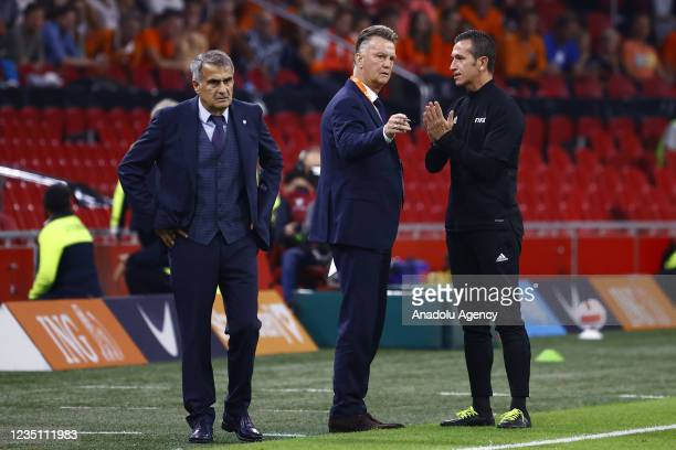 Head coach Senol Gunes of Turkey and Netherlands' head coach Louis van Gaal object to the referee during the 2022 FIFA World Cup Qualifiers Group G...