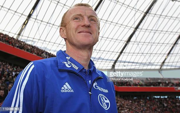 Head coach Seppo Eichkorn of Schalke looks on prior to the Budesliga match between Bayer Leverkusen and FC Schalke 04 at BayArena on March 20, 2011...