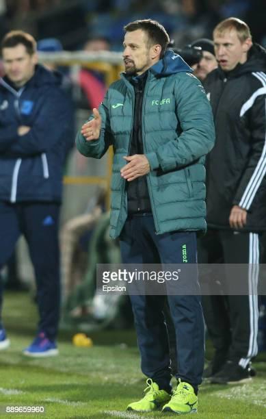 Head coach Sergei Semak of FC Ufa gestures during the Russian Premier League match between FC Rostov RostovonDon v FC Ufa at Olymp 2 Stadium on...