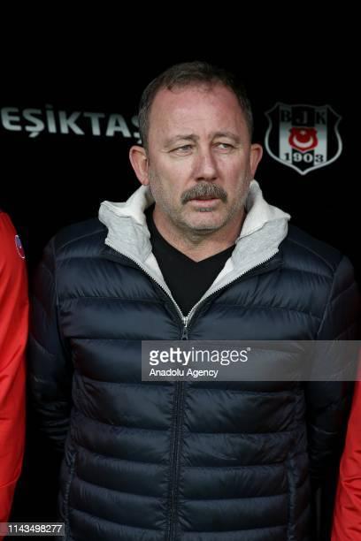 Head coach Sergen Yalcin of Aytemiz Alanyaspor looks on during Turkish Super Lig soccer match between Besiktas and Aytemiz Alanyaspor at Vodafone...