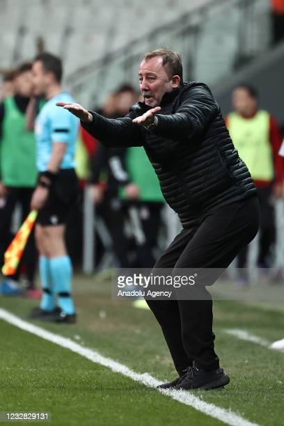 Head coach Sergen Yalcin of Besiktas gives tactics to his players during Turkish Super Lig week 41 soccer match between Besiktas and Fatih Karagumruk...