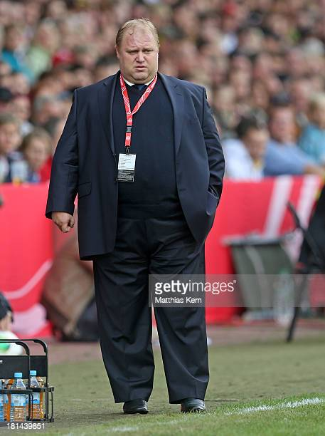Head coach Sergey Lavrentyev of Russia looks on during the Women's World Championship qualification match between Germany and Russia at Stadion der...