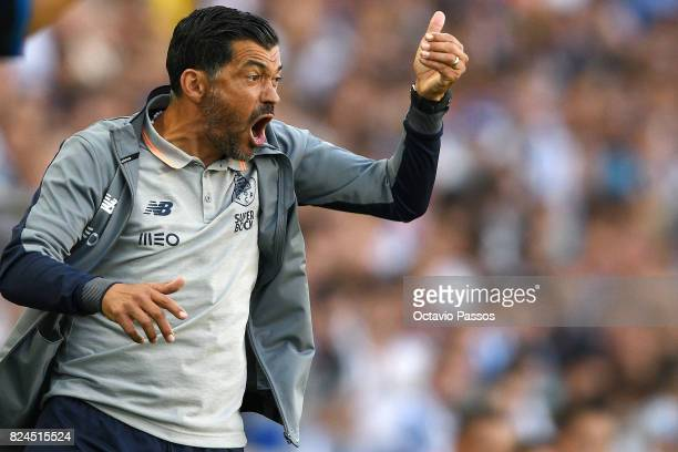 Head coach Sergio Conceicao of FC Porto reacts during the PreSeason Friendly match between FC Porto and RC Deportivo La Coruna at Estadio do Dragao...