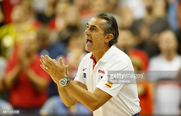 Head coach Sergio Scariolo of Spain reacts during the FIBA EuroBasket 2015 Group B basketball match between Turkey and Spain at Arena of EuroBasket...
