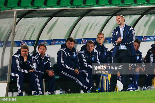 Head Coach Serhiy Rebrov of FC Dynamo Kyiv looks on during the UEFA Europa League Group J match between Rio Ave FC and FC Dynamo Kyiv at the Dos...